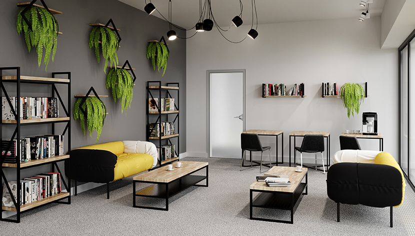meble loftowe w pomieszczeniu biurowym